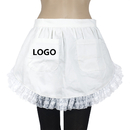 Aspire Custom Waist Maid Apron White Cotton Lace Party Costume Half Aprons with Logo Two Pockets