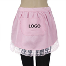 Aspire Customized Adult Lace Half Aprons, Cotton Cooking Apron with Pocket Coffee House Favors