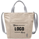 Personalized Canvas Shoulder Bag with Zipper, Design Your Tote Handbag for School, Shopping, Work