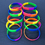 GOGO 10 Pcs Rainbow Pride Silicone Wristbands, Rubber Bracelets, Party Favors