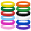 GOGO 60 PCS Adult-Sized Silicone Bracelets Rubber Band Bracelets Wristbands for Party - Red Yellow Green