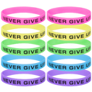GOGO Never Give Up Bracelets / Neon Rubber Wristbands Glow-in-the-dark