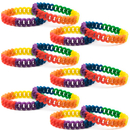 GOGO 12 PCS Rainbow Silicone Chain Link Bracelets Gay Pride Wristbands Support LGBTQ Cause