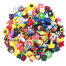 GOGO 120 PCS Mixed PVC Shoe Charms + 4 PCS Shoe Lace Adapters Crocs Jibbitz Shoes Silicone Wristbands