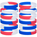 GOGO Red White Blue Silicone Bracelet Patriotic Wristbands Rubber American Bands USA 4th of July