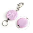GOGO Rose Flower Cute Badge Reels With Key Rings Loop Clasp