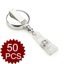 GOGO 50PCS Retractable Silver Color Chrome ID Name Badge Holder Reels