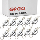 GOGO 100PCS Silver Heavy Duty Retractable Badge Holder Reel Reinforced ID Strap
