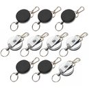 Officeship 10PCS Silver Metal Retractable Reel With Belt Clip, Loop Clasp & Key Ring for ID Badge