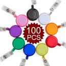 GOGO 100PCS Translucent ID Card Badge Holder Reels Wholesale Best Office Supplier