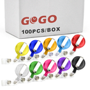GOGO 100PCS Secure Retractable Badge Holder ID Reel Clip On Card