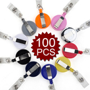 GOGO 100PCS Solid Color Retracting Badge Reel For Pass ID Card, Keys
