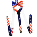 TopTie Men's USA FLAG Plaid Suspenders & Bow tie Set, Elastic and Adjustable