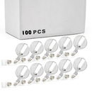 Officeship 100 PCS Clear White Retractable Badge Holder, Retracting Card Reel Bulk Sale