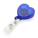 Officeship Blue Heart Shape Retracting Badge Reels 10 PCS