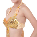 BellyLady Belly Dance Tribal Halter Bra Top With Rings and Fringe, Size for 36B