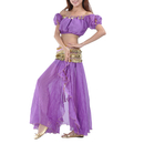 BellyLady Women Belly Dance Chiffon Skirt With Slit Side And Ruffle
