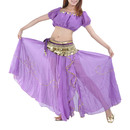 BellyLady Women Slited Belly Dance Maxi Skirt With Bead Embroidery
