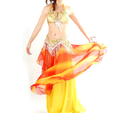 (Price/2 pcs) BellyLady Professional Dancing Costume, Beaded Fringe Halter Bra Top And Belt Set