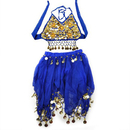 BellyLady Kid's Halloween Costume Belly Dance Halter Top & Skirt, Blue