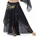 BellyLady Belly Dance Chiffon Coins Full Circular Skirt