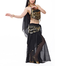 BellyLady Halloween Belly Dance Costume, Halter Bra Top, Hip Scarf and Skirt
