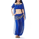 BellyLady Belly Dance Tribal Short Sleeves Chiffon Top with Gold Coins