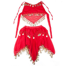 BellyLady Kid's Belly Dance Red Halter Top & Skirt, Halloween Costumes Set
