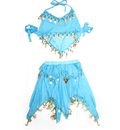 BellyLady Kid's Blue Belly Dance Halter Top & Skirt, Christmas Gift Idea