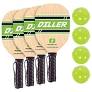 Pickle Ball Diller 4 Player Paddle & Ball Pack