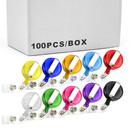 Muka 100 PCS Clear Retractable Badge Holder Retracting Card Reel WHOLESALE BULK