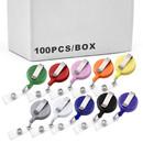 Muka 100 PCS Retractable Badge Holder Retracting Card Reel WHOLESALE BULK Solid Color