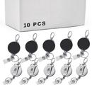 10PCS Heavy Duty Reinforced Steel Wire Cord Retractable Reel Belt Clip Loop Clasp Key Ring Keychain