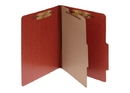 ACCO PRESSTEX 4-Part Classification Folder with PermClip Fasteners, Letter, Red, Box of 10, 15004