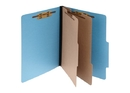 ACCO ColorLife PRESSTEX 6-Part Classification Folders with PermClip Fasteners, Letter, Light Blue, Box of 10, 15662