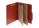 ACCO PRESSTEX 6-Part Classification Folder with PermClip Fasteners, Legal, Red, Box of 10, 16006