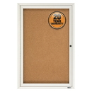 Quartet Enclosed Cork Bulletin Board for Indoor Use, 2' x 3', 1 Door, Aluminum Frame, 2363