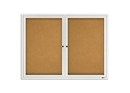 Quartet Enclosed Cork Bulletin Board for Indoor Use, 4' x 3', 2 Door, Aluminum Frame, 2364