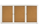 Quartet Enclosed Cork Bulletin Board for Indoor Use, 6' x 3', 3 Door, Aluminum Frame, 2366
