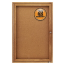 Quartet Enclosed Cork Bulletin Board for Indoor Use, 2' x 3', 1 Door, Oak Frame, 363
