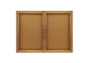 Quartet Enclosed Cork Bulletin Board for Indoor Use, 4' x 3', 2 Door, Oak Frame, 364