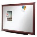 Quartet Quick Ship DuraMax Porcelain Whiteboard, 4' x 3', Mahogany Finish Frame, 85288