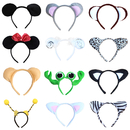 Aspire Mixed Random 12 PCS Animal Headbands Plush Headwear Halloween Costume Accessories Party Favor