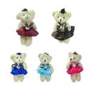 GOGO 4 Inch Stuffed Plush Bear Dress Bear, Pack Of 5, Valentine's Gift Idea, Party