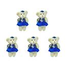 GOGO 4 Inch Stuffed Plush Bear Blue Bride Dress Bear, Pack Of 5, Valentine's Gift Idea