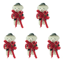 GOGO 4 Inch Stuffed Plush Bear Red Groom Bear, Pack Of 5, Valentine's Gift Idea