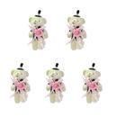 GOGO 4 Inch Stuffed Plush Bear Pink Groom Bear, Pack Of 5, Valentine's Gift Idea
