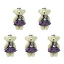 GOGO 4 Inch Stuffed Plush Bear Purple Bride Bear, Pack Of 5, Valentine's Gift Idea
