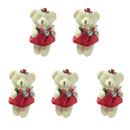 GOGO 4 Inch Stuffed Plush Bear Red Bride Bear, Pack Of 5, Valentine's Gift Idea