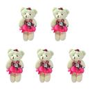 GOGO 4 Inch Stuffed Plush Bear Rose Red Bride Bear, Pack Of 5, Valentine's Gift Idea